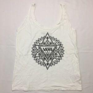 VANS Big Logo Womens White Tank Top Tribal Print